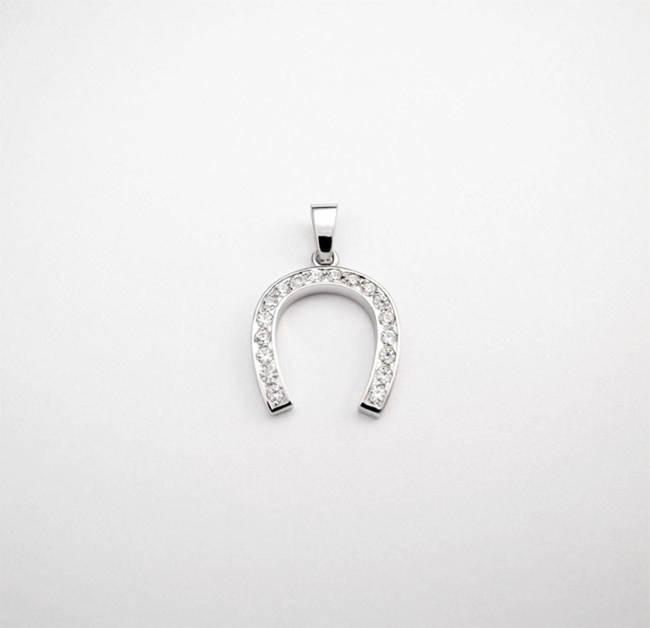 pendant horseshoe 18 diamonds
