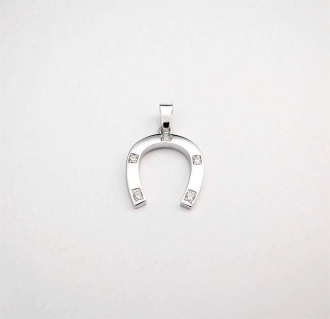 horseshoe pendant white gold and zircons