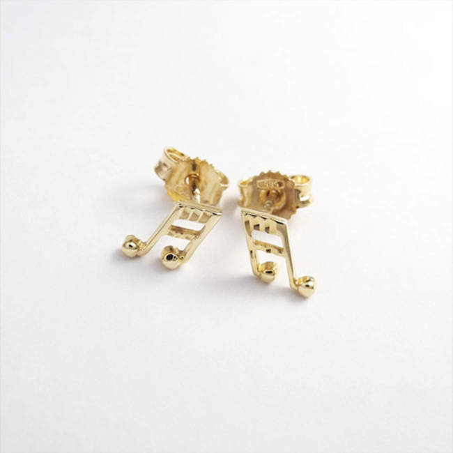 Muzieknoot studs massief goud