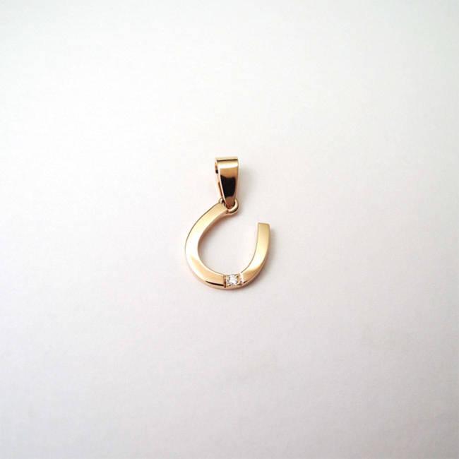 obesek podkvica sreca rdeče zlato z diamantom