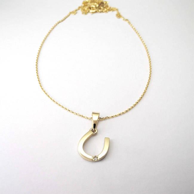 pendant horseshoe gift happy yellow gold diamond necklace