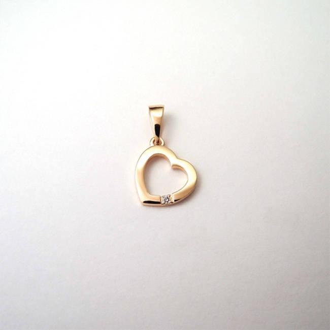 obesek srček darilo za obletnico zlato diamant ljubezen