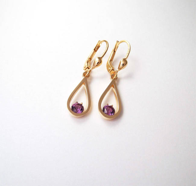 rose gold amethyst earrings natural lines