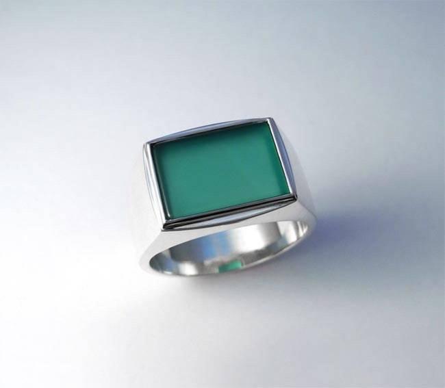 pečatni prstan moški zelen ahat