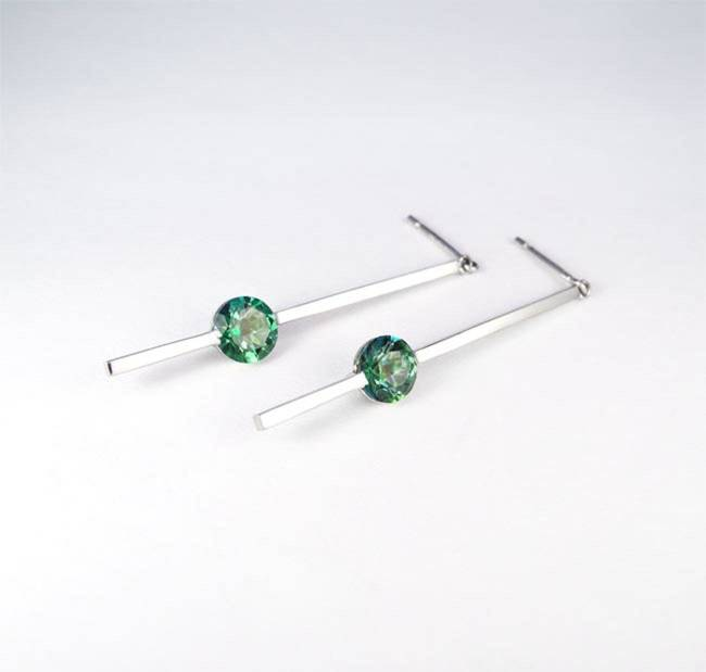 earrings minimalist green stone