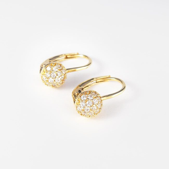 hanging earrings pave yellow gold