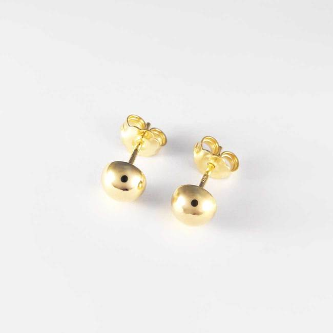 bold sphere studs 14k solid gold