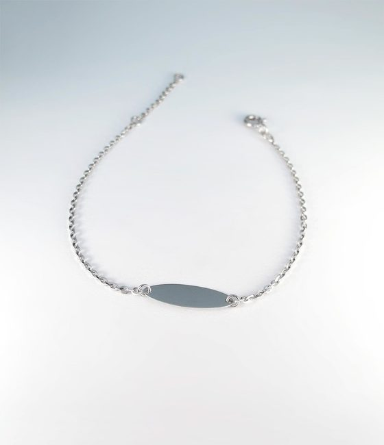 minimal bracelet with oval engravable bar solid gold