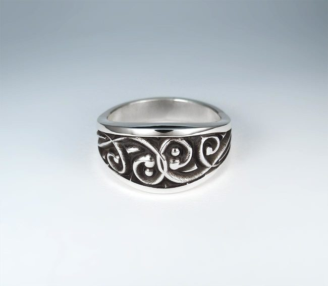 mens ring deep engravings darkened silver 925