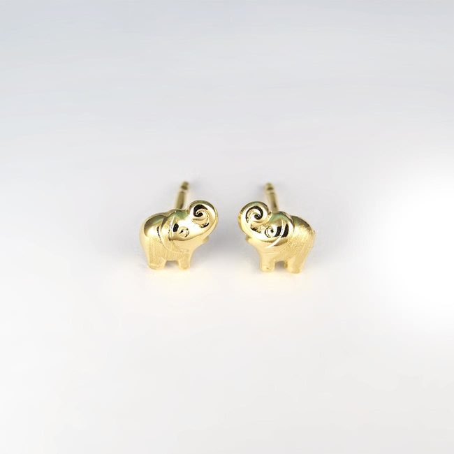 Boucles d'oreille elefant or jaune