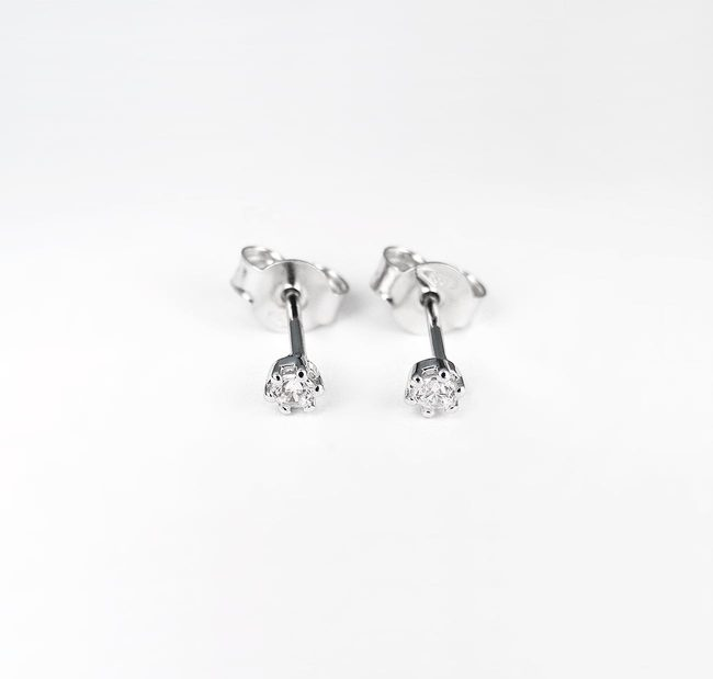 basic studs oorbellen 005ct diamanten