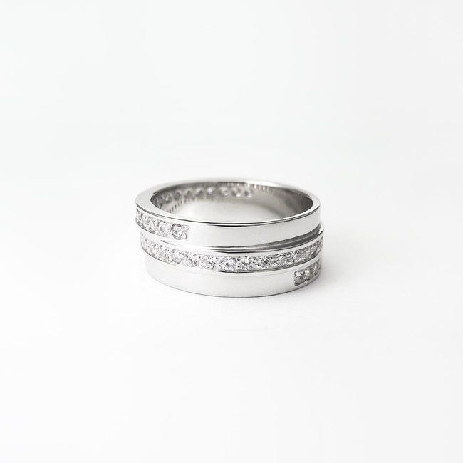 poročni prstani zamaknjeno belo zlato diamanti ženski