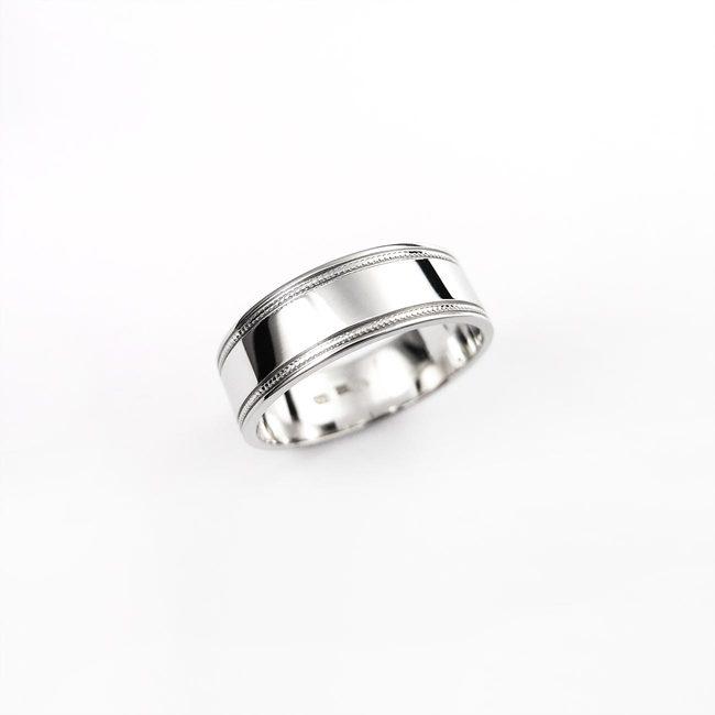 poročni prstan masiven belo zlato