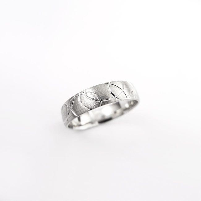 poročni prstan naravni vzorec linije mat
