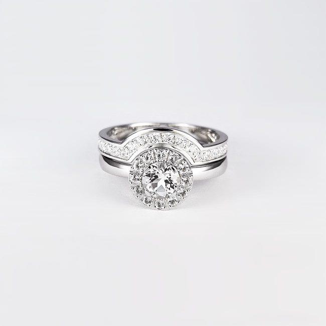 poročni prstan in zaročni prstan topazi zlato