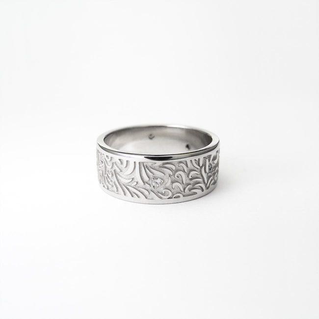 poročni prstan naravni vzorci gozd zlato diamanti ženski