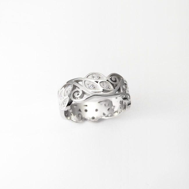 poročni prstan naravni vzorci listi drevesa zlato diamanti