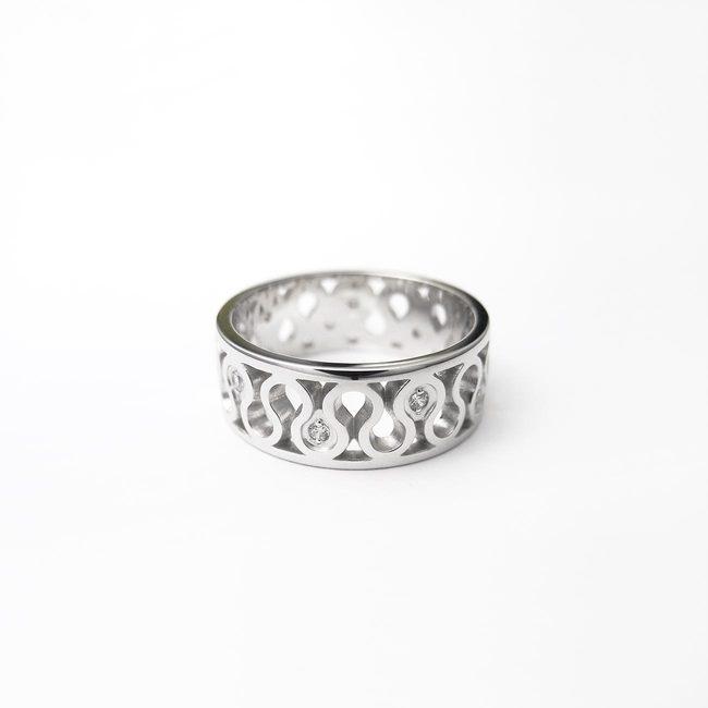 poročni prstan naravni vzorci vijuga zlato diamanti ženski