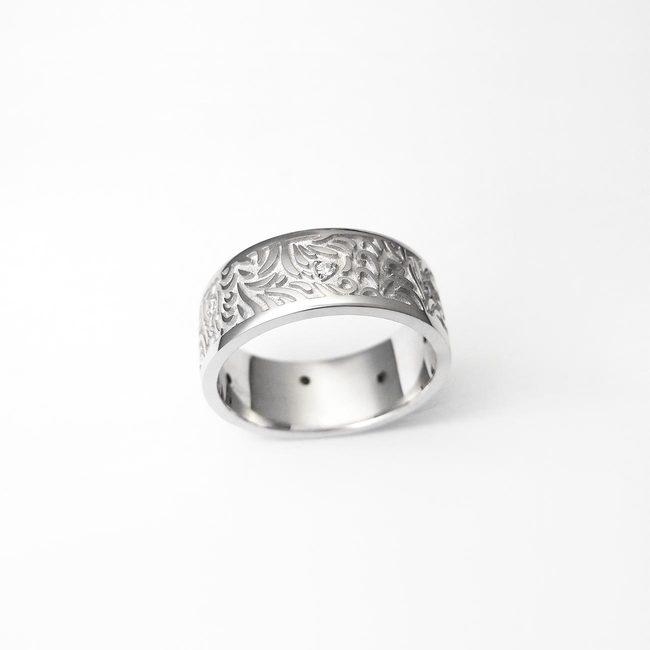 poročni prstani naravni vzorec gozd zlato diamanti