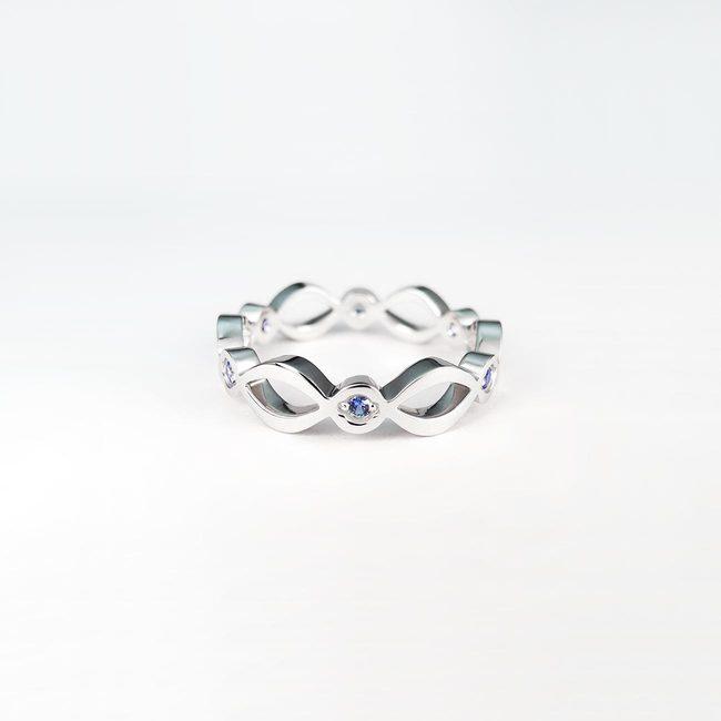 prstan naravne vijuge moder safir