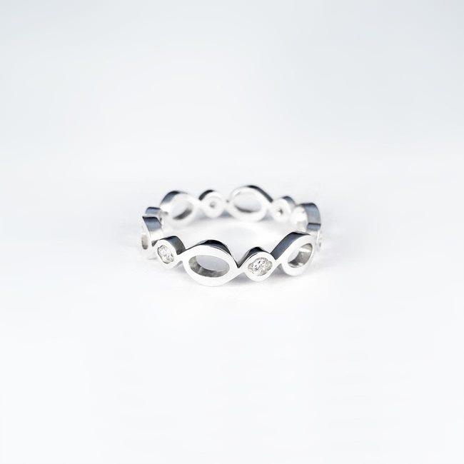 prstan poročni naravne vijuge belo zlato