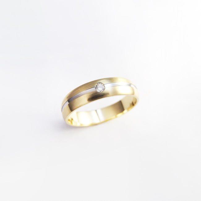 poročna rinka kombinacija belo rumeno zlato diamant