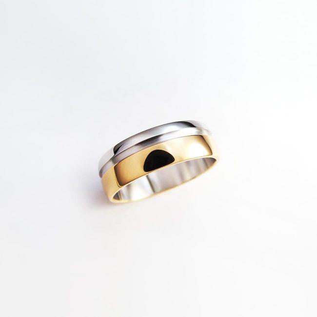 poročna rinka kombinacija belo roza zlato