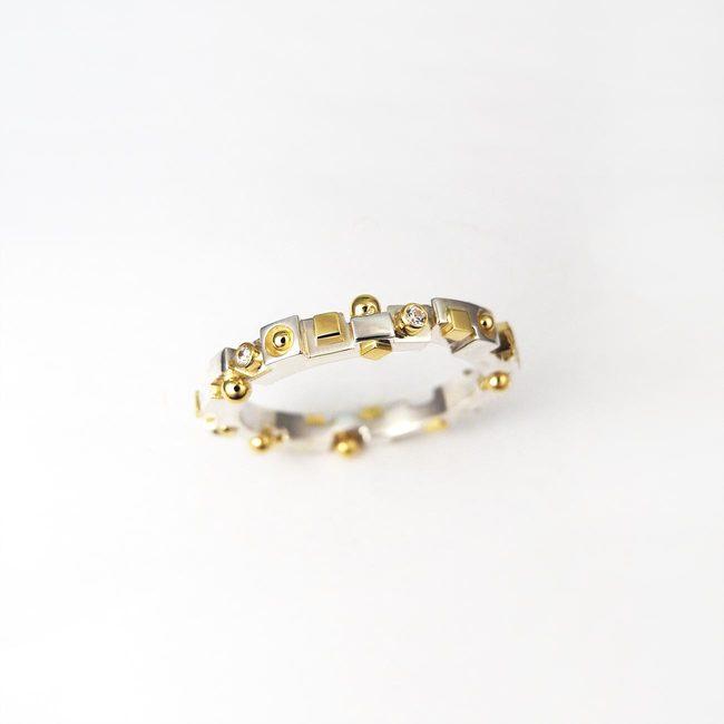 poročni prstan kubizem ekstravaganten diamanti belo rumeno zlato