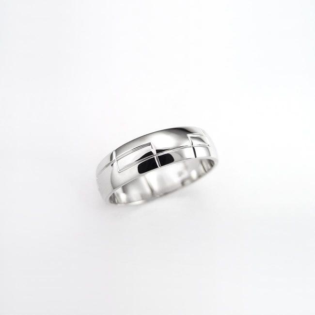 prstan poročni zlato belo pravokotne povezane linije moški