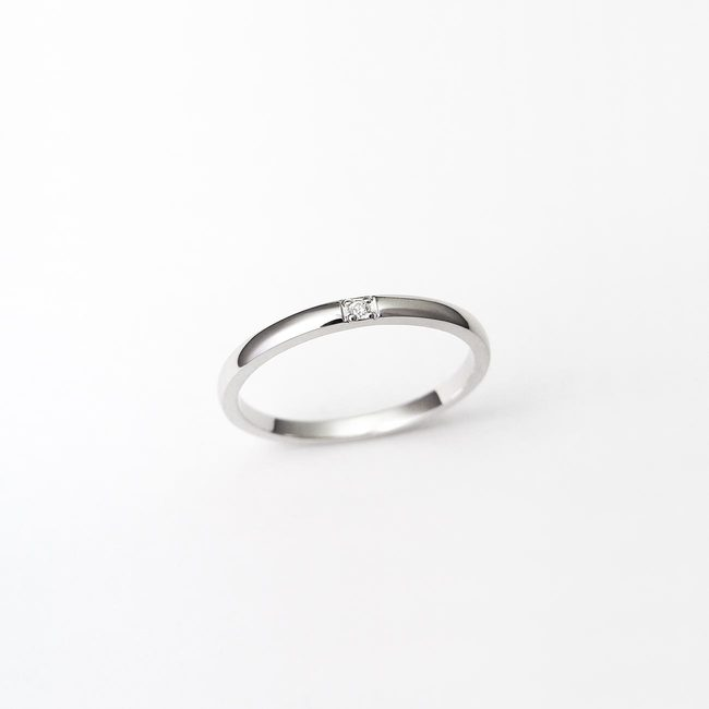 ring minimal white gold diamonds