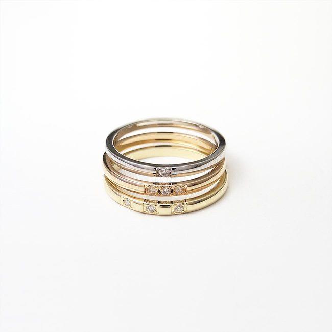 bagues minimalistes empilables diamants d'or