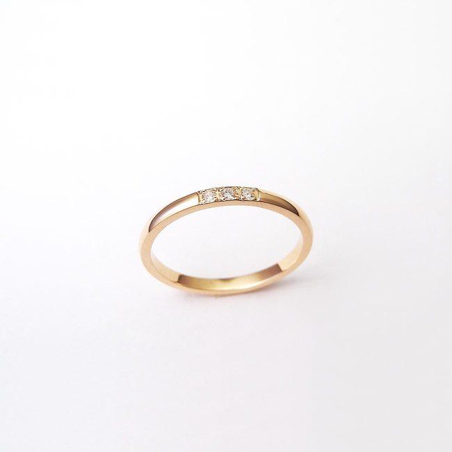 リングミニマリストレッドゴールドダイヤモンド