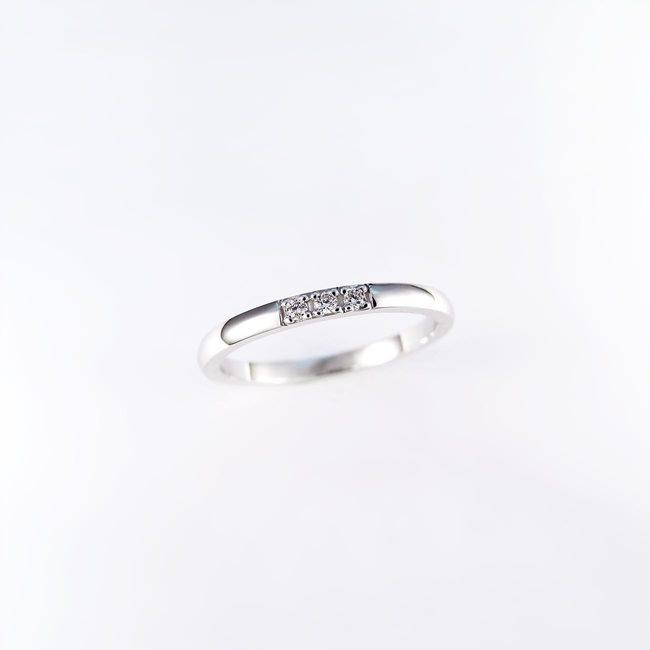 stackable ring minimal white gold diamonds
