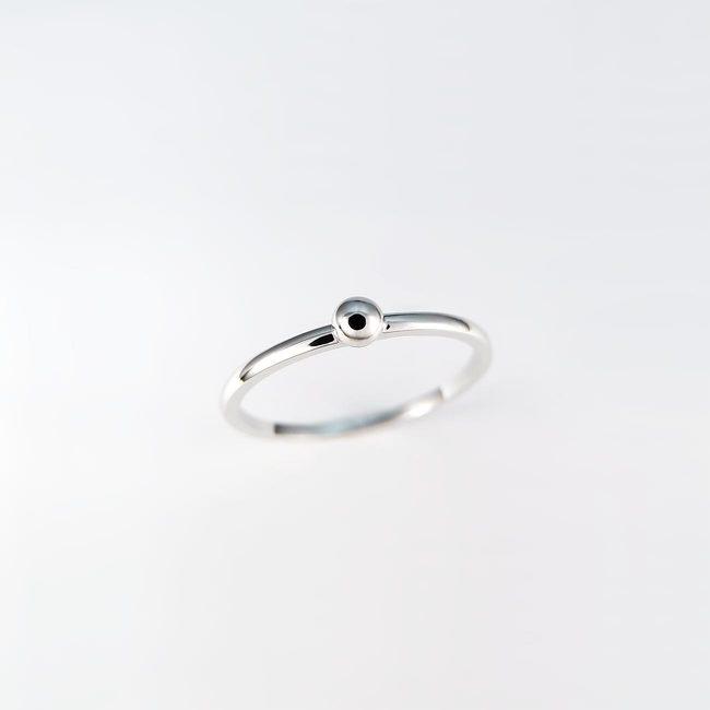enostaven prstan belo zlato krogla