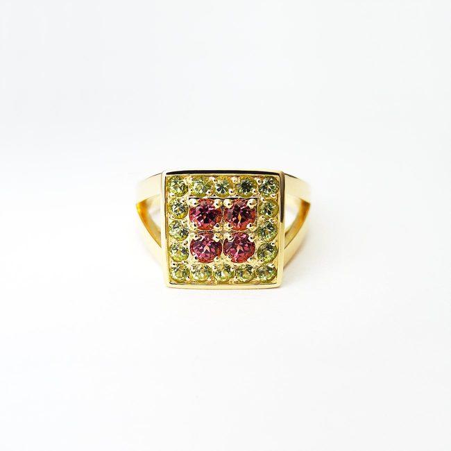prstan mogočen koktajl zlato period rodolit granat