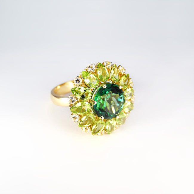 extravagante ring topaas peridoot groen