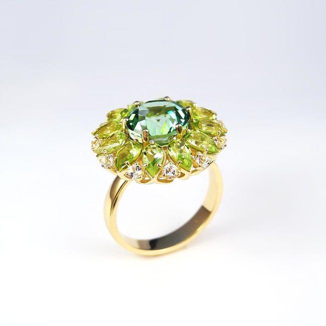 anello cocktail peridoto topazio bianco verde chiaro
