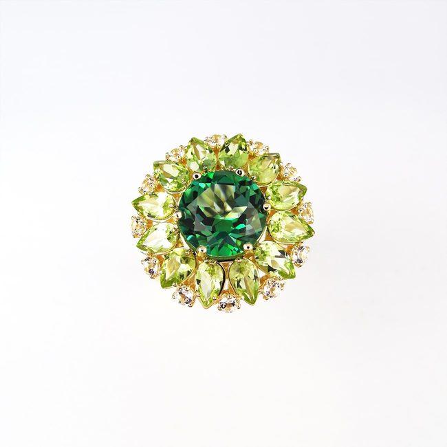 anello cocktail colori caldi topazio verde