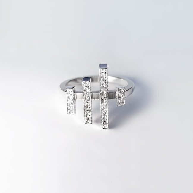 ring japanese symbol diamond lines white gold