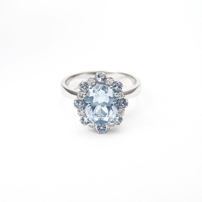 bogat zaročni prstan zlato diamanti topazi