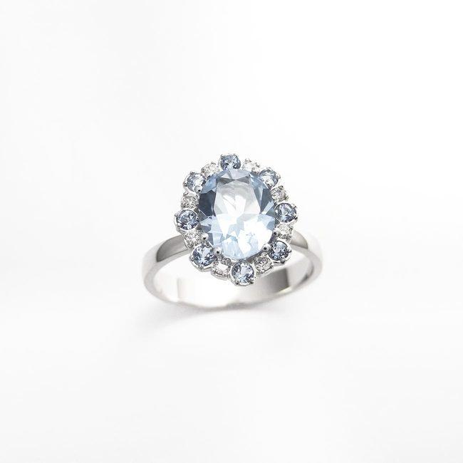 prstan belo zlato diamant topaz