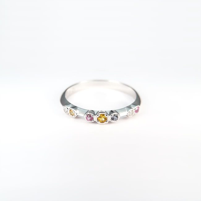 colorful ring diamonds yellow pink blue sapphires