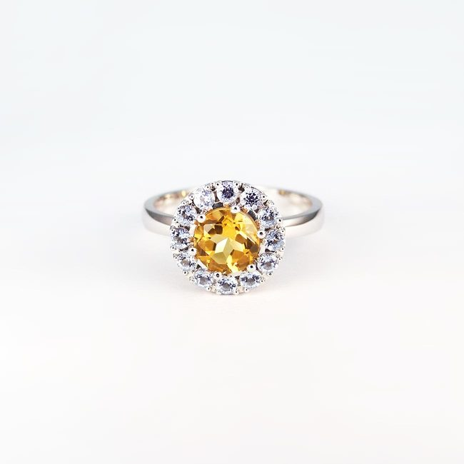 ring citrine yellow blue topaz gold