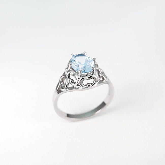ring oude vintage blauwe topaas