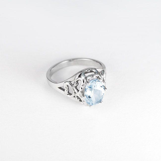 vintage prstan zlato modri topaz