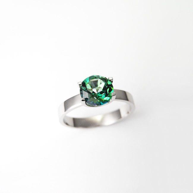 prstan zaročni naravni topaz zelen