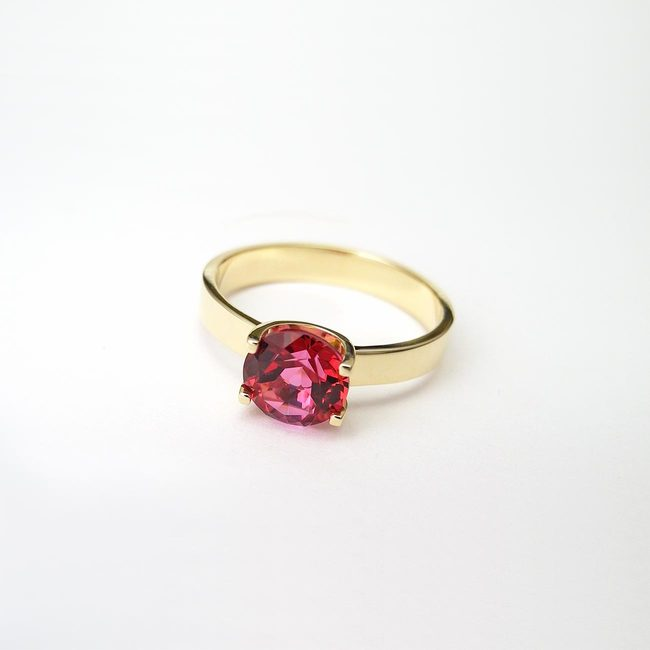 ring natural topaz red yellow gold