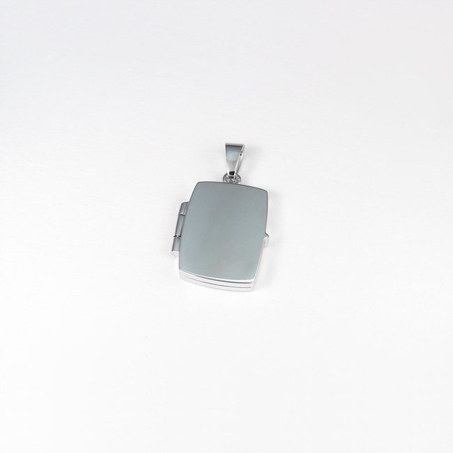 lille locket vedhæng hvidguld firkantet form