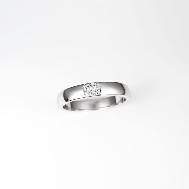 poročni prstan 2x2 diamanti pave belo zlato