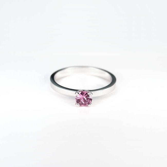zaročni prstan zlato 030 roza safir